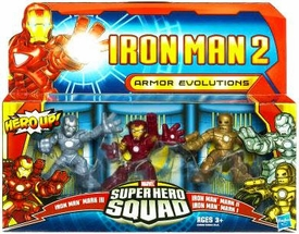 Iron Man 2 Super Hero Squad Mini Figure 3-Pack Armor Evolutions [Mark I, Mark II & Hot Zone]