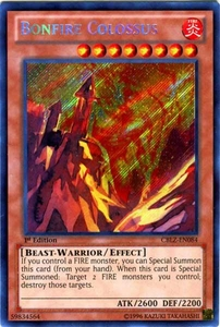 YuGiOh Zexal Cosmo Blazer Single Card Secret Rare CBLZ-EN084 Bonfire Colossus BLOWOUT SALE!