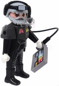 Playmobil LOOSE Mini Figure Male Dark Rangers Scientist with Silver Armor & Faceplate with Sample Collector [Light Flesh]