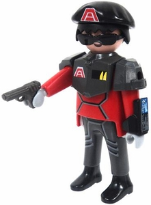 Playmobil LOOSE Mini Figure Male Dark Rangers Security Officer with Pistol [Light Flesh]