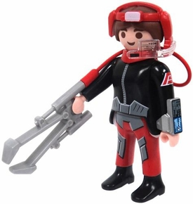Playmobil LOOSE Mini Figure Female Dark Rangers' Truck Driver with Sample Collector [Light Flesh]