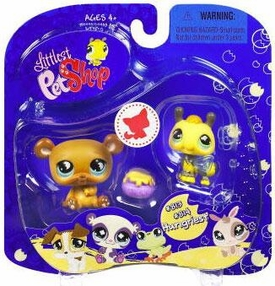 Littlest Pet Shop 2009 Assortment 'A' Series 2 Collectible Figure Bumblebee & Bear with Honey Pot