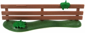 Playmobil LOOSE Accessory Brown Fence with Flat Plant & Growth on Railing