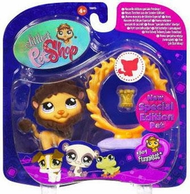 Littlest Pet Shop 2009 Assortment 'A' Series 1 Collectible Figure Lion with Flaming Hoop & Crown [Special Edition Pet!]