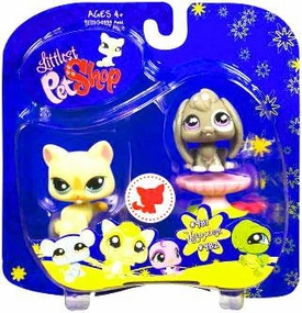 Littlest Pet Shop 2009 Assortment 'A' Series 4 Collectible Figure Yellow Cat & Bunny with Pedestal