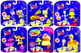 Littlest Pet Shop 2009 Assortment 'A' Series 3 Set of 6 Collectible Figures [Snake, Cow, Turtle, Bunny, Cat & Birds]