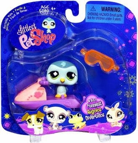 Littlest Pet Shop 2009 Assortment 'B' Series 1 Collectible Figure Penguin with Jet Ski