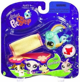 Littlest Pet Shop 2009 Assortment 'B' Series 2 Collectible Figure Blue Angel Fish with Surf Board