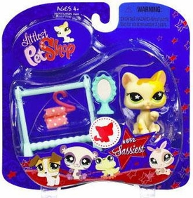 Littlest Pet Shop 2009 Assortment 'B' Series 2 Collectible Figure Cat with Clothes Rack & Mirror