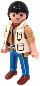 Playmobil LOOSE Mini Figure Male Hiker in Tan Vest & Brown Shirt, Blue Pants