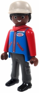Playmobil LOOSE Mini Figure Male with Dark Flesh, Red & Blue Jacket, Tan Hat, Cargo Pants