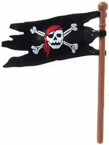 Playmobil LOOSE Accessory Pirate Flag 'Skull N Crossed Bones' On Brown Pole