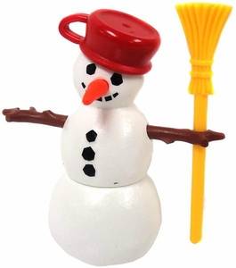 Playmobil LOOSE Accessory Snowman with Red 'Pot' Hat & Yellow Broomstick