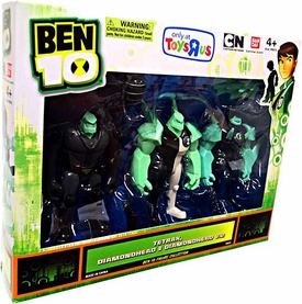 Ben 10 Exclusive 4 Inch Action Figure 3-Pack Tetrax, Diamondhead & Diamondhead V.2