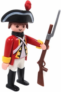 Playmobil LOOSE Mini Figure Male British 'Red Coat' Infantry with Brown Bess Musket & Bayonet