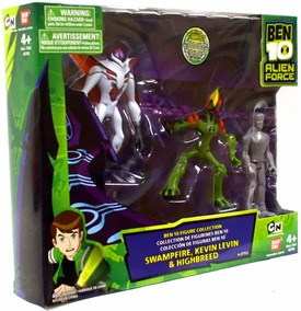 Ben 10 Alien Force 4 Inch Action Figure 3-Pack Collection 1 [Swampfire, Kevin Levin {All Silver Exclusive} & Highbreed]
