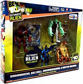 Ben 10 Exclusive 4 Inch Action Figure Ultimate Alien 4-Pack #1 [Diamondhead, Big Chill, Humungousaur & Water Hazard]