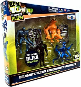 Ben 10 Exclusive 4 Inch Action Figure Ultimate Alien 4-Pack #2 [Wildmutt, Alien X, Spidermonkey & Nanomech]