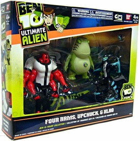 Ben 10 Ultimate Alien 4 Inch Action Figure 3-Pack Collection Four Arms, Upchuck [Version 2] & XLR8