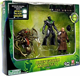 Ben 10 Alien Swarm 4 Inch Action Figure 3-Pack Movie Set 1 [Alien Queen, Nanomech V.1 & Validus]