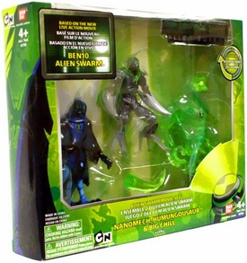 Ben 10 Alien Swarm 4 Inch Action Figure 3-Pack Movie Set 2 [Nanomech V.2, Humungousaur & Hooded Big Chill]