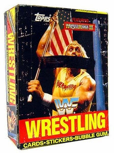 1987 Topps WWF Wrestling Wrestlemania III Wax Box [36 Packs] Box Has Black Line Across Front!