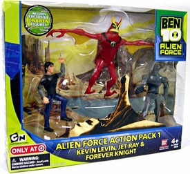 Ben 10 Alien Force Exclusive 4 Inch Action Figure 3-Pack Action Pack 1 [Kevin Levin, Jet Ray & Forever Knight]