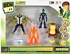 Ben 10 Exclusive 4 Inch Action Figure Haywire 4-Pack Upchuck, Four Arms, Swampfire & Goop
