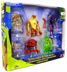 Ben 10 Exclusive 4 Inch Action Figure Alien Force 4-Pack #2 [Humungousaur, Goop, Chromastone & Brainstorm]