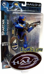 Halo 2 Action Figure Series 3 Blue Spartan (Orange Stripes w/ Marathon Emblem)