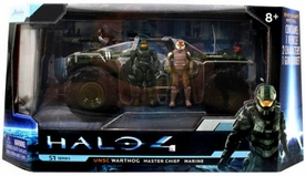 Halo 4 Jada Toys 7 Inch Die Cast Set #96529 UNSC Warthog with Master Chief & Marine {Glossy Green}