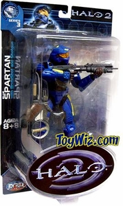 Halo 2 Action Figure Series 3 Blue Spartan (Yellow Stripes w/ Valkyre Emblem)