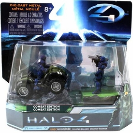 Halo 4 Jada Toys 3 Inch Die Cast Set #96619 UNSC Mongoose with BLUE Spartan Soldier & Warrior [Combat Edition]