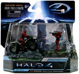 Halo 4 Jada Toys 3 Inch Die Cast Set #96527 UNSC Mongoose with RED Spartan Soldier & Warrior