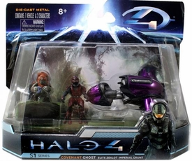 Halo 4 Jada Toys 4 Inch Die Cast Set #96528 Ghost with Elite Zealot & Imperial Grunt