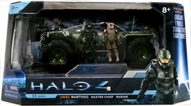 Halo 4 Jada Toys 7 Inch Die Cast Set #96620 UNSC Warthog with Master Chief & Marine {Primer Green}