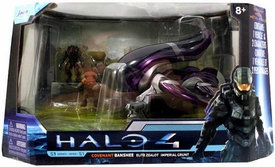 Halo 4 Jada Toys 7 Inch Die Cast Set #96530 Covenant Banshee with Elite Zealot & Imperial Grunt