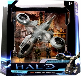 Halo 4 Jada Toys 10 Inch Die Cast Set #96531 UNSC Hornet ODST with Marine Pilot {Arctic Gray}