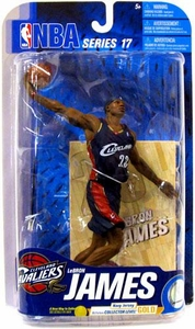 McFarlane Toys NBA Sports Picks Series 17 [2009 Wave 2] Action Figure Lebron James (Cleveland Cavaliers) Navy Blue Jersey Gold Collector Level Chase Only 500 Made! Damaged Package!