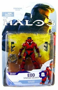 Halo 3 McFarlane Toys Series 4 [2009 Wave 1] Action Figure RED Spartan Soldier EOD [Dual SMGs & Trip Mine]