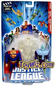 Justice League Unlimited Series 1 Action Figure 3-Pack Superman, Martian Manhunter [Clear White] & Brainiac