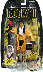 Jakks Pacific Rocky II (Series 2) Action Figure Rocky 2nd Fight in Gold Robe [Black Trunks & Black Gloves]
