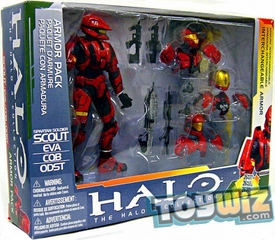 Halo McFarlane Toys Deluxe Action Figure Box Set Red Spartan Armor Pack [Red Scout, ODST, EVA & CQB Armors]