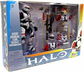 Halo McFarlane Toys Deluxe Action Figure Box Set Rogue Armor Pack [WHITE Spartan Soldier Rogue, CQB, Scout & Hayabusa]