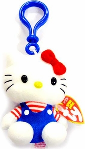 Ty Hello Kitty Beanie Baby Plush Keychain Blue Overalls