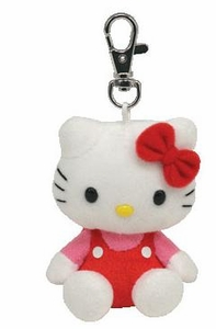Ty Hello Kitty Beanie Baby Plush Keychain Red Overalls
