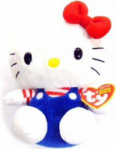 Ty Hello Kitty Beanie Baby Blue Overalls