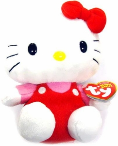 Ty Hello Kitty Beanie Baby Red Overalls
