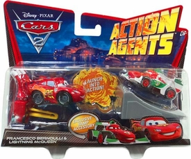 Disney / Pixar CARS 2 Movie Action Agents 2-Pack Francesco Bernoulli & Lightning McQueen