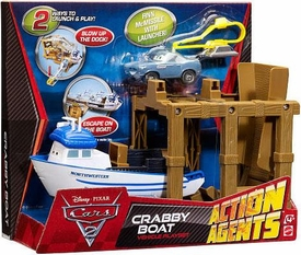 Disney / Pixar CARS 2 Movie Action Agents Vehicle Playset Crabby Boat
